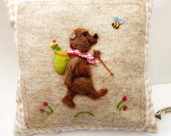 Needle felted bear pillow, kid's room picnic teddy - can be personalized girls and boys bedroom pillow.
