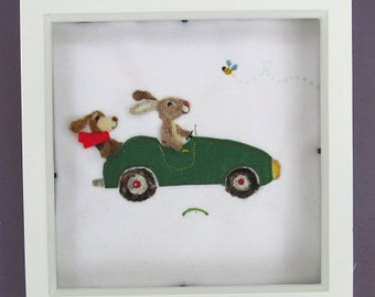 Needle felted Bunny whizzing in his car, framed Christening present, personalised with embroidered name and date. Boys room decor