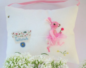Pink Rabbit design tooth fairy pillow, Christening pillow, personalized girls and boys tooth pillow. Felted rabbit. Baby gift