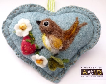 Felted bird and strawberries, Personalised Heart hanging decoration, needle felted Hare on scented heart, personalised with name / words