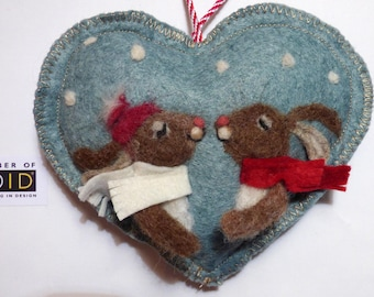Needle felted love rabbits on a heart -felted heart gift, scented and personalised