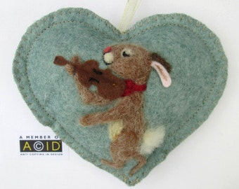 Needle felted rabbit playing a violin scented heart ! musical Felted hare - Birthday card - tooth fairy pillow, personalised with name