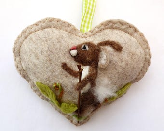 I LOVE Rabbits and walking! Needle felted walking rabbit on a heart, Personalised Heart hanging decoration, gift +card in one