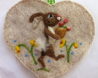 Felted bunny rabbit holding abasket of flowers, Personalised felt Heart hanging decoration, needle felted bunny - scented heart