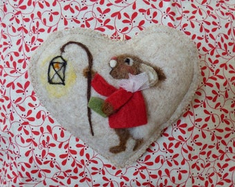 Needle felted rabbit carol singing with a lantern on a heart -felted heart gift, scented and personalised