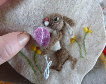 Bunny Needle felt hanging heart kit, needle felted rabbit craft kit - felt heart sewing kits - crafters gift -Spring Collection B