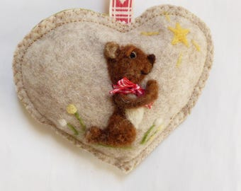 Prayer Bear Felted bear with a bow , Personalised felt Heart hanging decoration, needle felted teddy - scented heart