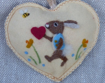 Spring rabbt Heart decoration, needle felted rabbit in the flower garden, felt heart personalised with name.
