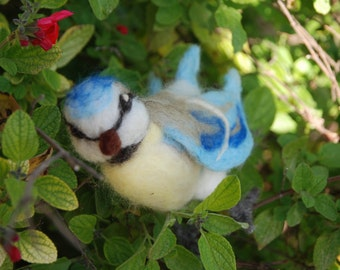 Bird ornament, Viola, the needle felted blue-tit.