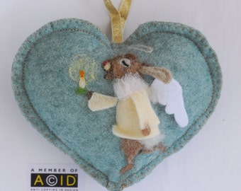 Angel Heart hanging decoration, needle felted rabbit angel on a heart - Easter ornament