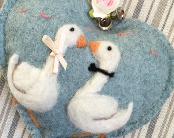 Wedding geese Personalized Wedding gift, Congratulations Heart decoration - needle felted love geese on  felt heart with name.