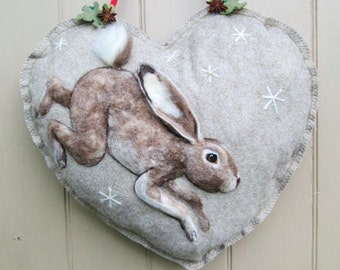 Private listing for Large Heart with Hare and flowers AND Cushion with linen stripes and running hare