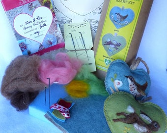 Meadow Hare and Blossom Wren Needle felt heart kit, All you need to make Two needle felt heart ornaments- felting kit Sweet Liberty Belle