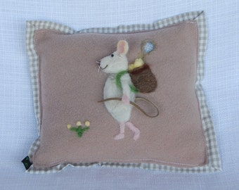 Needle felted mouse throw pillow. Sofa pillow, Bed pillow. White mouse, tennis theme, personalized, choose your own sport or activity.
