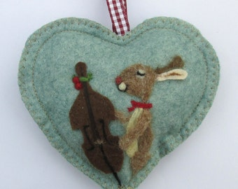 Personalised Heart hanging decoration, needle felted musical bunny on a scented heart, personalised for Easter  Valentine  Birthday wishes