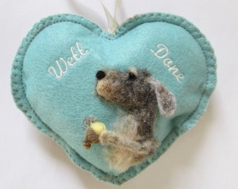 Well done needle felted dog  Spice Heart with an acorn, scented hanging ornament, reward gift, tooth pillow pouch