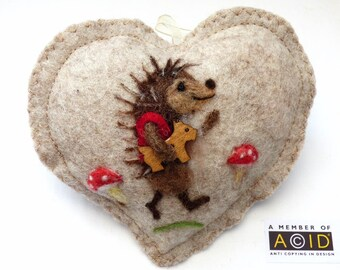 Felted Hedgehog Heart decoration - small gift personalised to keep, needle felted hedgehog on  felt heart with name. Optional tooth pocket