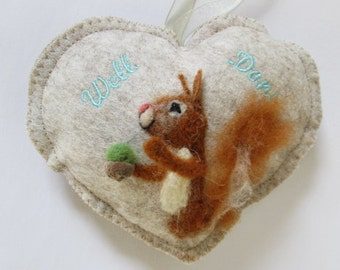 Well done needle felted Squirrel  Spice Heart with an acorn, scented hanging ornament, reward gift, tooth pillow pouch