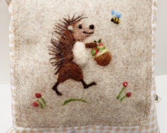 Needle felted hedghog pillow, kid's room -hedgehog  be personalized girls and boys bedroom pillow.
