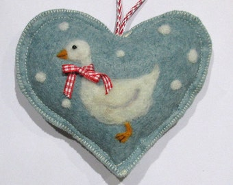 Christmas ornament,white snow goose, Spice Heart hanging ornament, needle felted wool felt hanging decorations,tree decoration