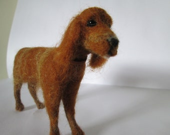Needle felted dog sculpture, pet sculpture Red Setter ornament, felted puppy pet