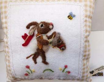 Needle felted cowboy bunny pillow, kid's room - mouse on a hooby horse can be personalized girls and boys bedroom pillow.