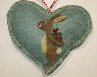 Personalised Heart hanging decoration, needle felted birthday bunny on a scented heart, personalised for Easter  Valentine  Birthday wishes