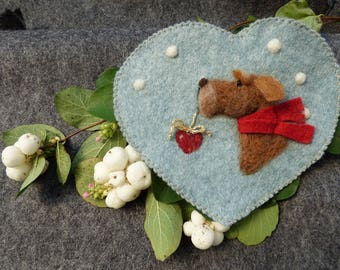 Christmas needle felted dog with a heart and snow flakes, felted heart -felted heart gift, scented / personalised -