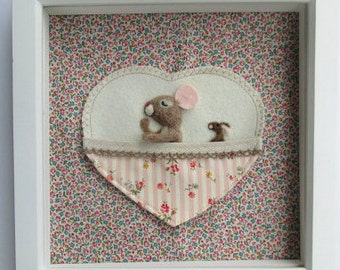 Needle felted mouse, framed Christening present, personalised with embroidered name and date. Sleeping felt mouse with bunny