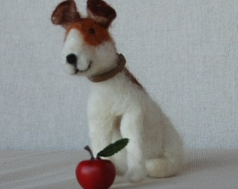 Needle felted dog, Jack Russel, needle felted Puppy wool dog. Soft sculpture pet