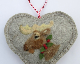 Heart hanging decoration, needle felted Mr Moose on a heart ,moose ornament personalised and with notlet pocket, small gift or card