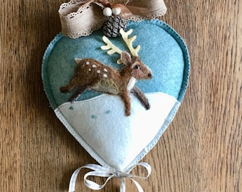 Needle felted deer on snowy mountain side mid -sized heart - door decor - Christmas wall hanging