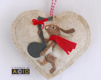 Heart hanging decoration, needle felted rabbit on a heart - Just A Note to Say ... music christmas ornament
