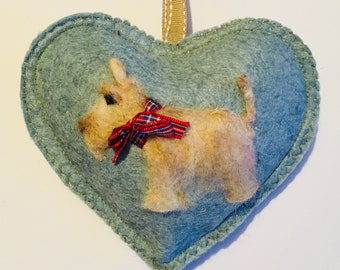 Reserved listing for a Blackie Scottie pin cushion and a heart with three Scotties
