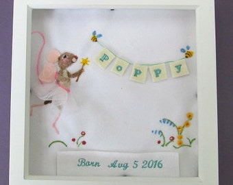 Needle felted fairy mouse girls room picture, personalised with embroidered name and date.