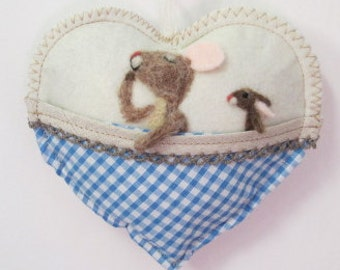 Christening Needle felted baby boy mouse Heart , baby shower or tooth pillow, personalised with name.