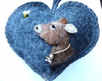 Felted cow with a bell and bee, Personalised Heart hanging decoration, needle felted cow on scented heart, personalised with name / words