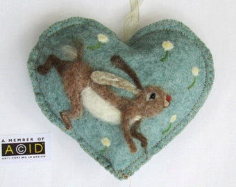 Felted Hare in the meadow, Personalised Heart hanging decoration, needle felted Hare on scented heart, personalised with name / words