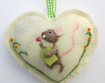 Spring Heart hanging decoration, needle felted mouse on a heart with flowers and book, personalised Easter or Valentine