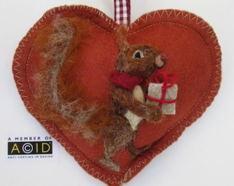 Squirrel Autumn Heart decoration, needle felted squirrel bringing, heart, acorn, gift, pumpkin, felt heart personalised with name.