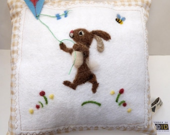 Needle felted bunny with a kite pillow, kid's room - felted rabbit flying a kite can be personalized girls and boys bedroom pillow.