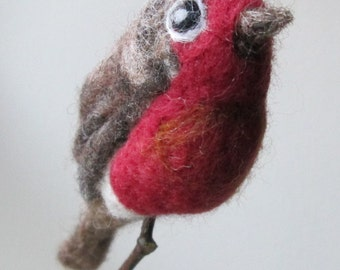 Needle felted robin red breast with present and holly bow tie, felted bird ornament tree decoration, door wreath, Christmas display.