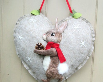 Large Heart Wreath, Needle felted Rabbit on Heart hanging decoration, Felted Wall Art Piece
