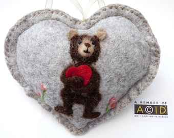 Felted brown bear holding hugging a heart, Personalised felt Heart hanging decoration, needle felted teddy - scented heart