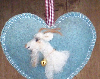 Heart shaped hanging ornament, needle felted goat with goatee tree hanging decorations, personalised with notlet pocket,