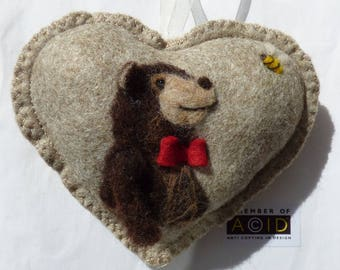 Felted brown bear with a bow tie taling to his friend 'Bee', Personalised felt Heart hanging decoration, needle felted teddy - scented heart