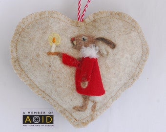 Chorister rabbit - Heart hanging decoration, needle felted rabbit singing his heart out! -  music christmas ornament
