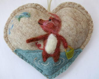 I LOVE PIGS ! Paddling Pig, needle felted piglet on a heart , Personalised Heart hanging decoration, Kids room /tooth pillow