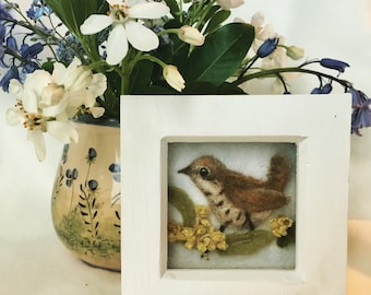 Jenny Wren arranged on leaves with real dried flowers, felted bird diorama framed picture