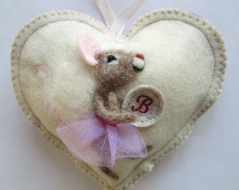 Needle felted fairy mouse Heart ,Christening, baby shower or tooth pillow, personalised with name.